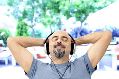 Man listening to the music Stock Image