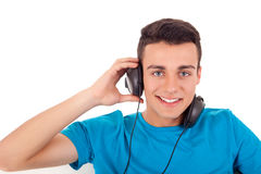 Man listening to music on his headphones Stock Image
