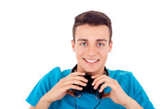 Man listening to music on his headphones Stock Photos