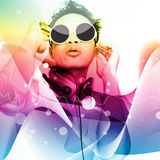 Man Listening To Music Series. Man Listening To Music,With Colorful Background Design,For Card Or Wallpaper,Party ,Music Invitation Card Design Stock Photography