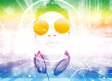Man Listening To Music Series. Man Listening To Music Or Dj,With Colorful Background Design,For Card Or Wallpaper,Party ,Music Invitation Card Design Stock Images