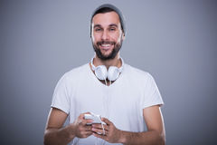Man listening to music Royalty Free Stock Photo