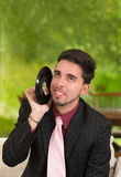 Man listening to vinyl LP at home Royalty Free Stock Photography