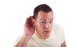 Man listening, viewing the  gesture of hand Stock Photo