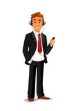 Man listens music in headphones with smatphone. Man holding smatphone and listening muisc in headphones. Office manager, businessman vector isolated character Stock Images