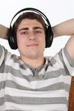 Man listens to music Stock Photography