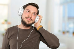 Man listens to music Stock Photo