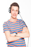 Man listens to music on headphones Royalty Free Stock Photography