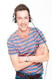 Man listens to music on headphones Royalty Free Stock Photos