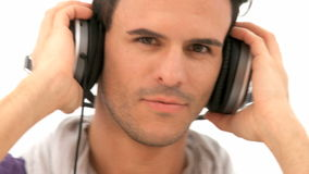 Man listens to music Royalty Free Stock Images