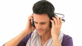 Man listens to music stock video footage
