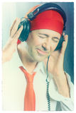 Man listens to music Royalty Free Stock Photo
