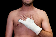 Man with little finger in cast Royalty Free Stock Image