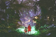 Man and little girl looking at green swamp in forest. Man and little girl looking at the glowing green swamp in fantasy forest, digital art style, illustration Royalty Free Stock Image