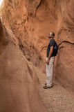 Man in Little Wild Horse Slot Canyon Stock Images