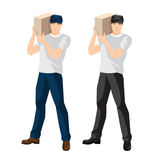 Man loader or courier hold package. Vector illustration of man loader or courier hold package Royalty Free Stock Photography