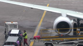 Man loading aircraft luggage. MANCHESTER, UNITED KINGDOM - MARCH, 3, 2016: Strong man, baggage handler wearing safety vest is loading aircraft passengers stock video