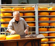 A man loading cheese in a container Stock Photography