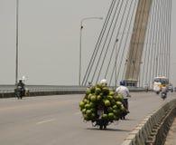A man loading coconut on Binh bridge Stock Image