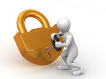 Man with lock Royalty Free Stock Photography