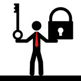 Man with lock and key. Illustration (vector) of a person that is holding a key and a lock Royalty Free Stock Image
