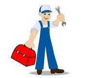 Man locksmith with a hammer and gripsack in a hand Stock Photography