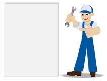 Man a locksmith with a wrench in hand shows on clean banner Stock Photos
