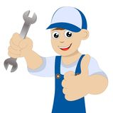 Man a locksmith with a wrench in hand Stock Images