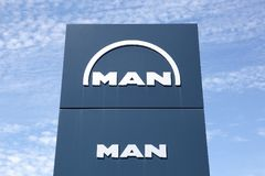 Man logo on a panel. Villefranche, France - June 11, 2017: Man logo on a panel. Man is a German mechanical engineering company and parent company of the MAN Royalty Free Stock Photos