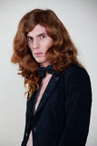Man with the long, auburn hair Royalty Free Stock Images