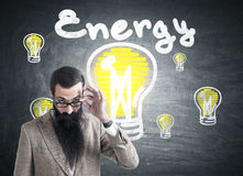 Man with long beard and energy sketch Royalty Free Stock Photos