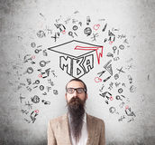 Man with long beard and MBA sketch Stock Images