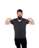 Man with long beard pointing to himself Stock Photography