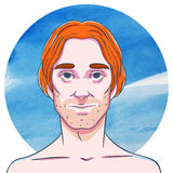 Man with long ginger hair on a background of watercolor circles Royalty Free Stock Images