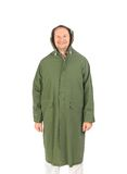 Man in long green coat. Royalty Free Stock Image