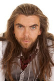 Man long hair formal close look serious Stock Photos