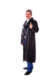 Man in long leather coat Royalty Free Stock Photography