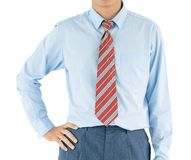 Man in long sleeve shirt wear standing with akimbo with clipping Royalty Free Stock Photography