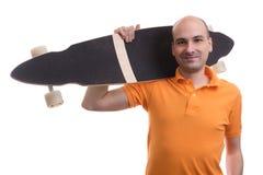 Man with longboard Stock Image