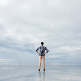 Man look and discover Royalty Free Stock Photo