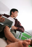 Man look at netbook. Portrait of man look at netbook Royalty Free Stock Photo