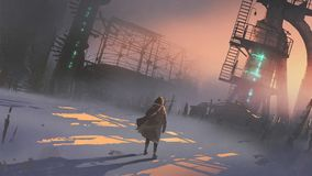 Man looking at abandoned factory. In a cold winter morning, digital art style, illustration painting stock illustration