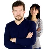 Man looking angry with girlfriend upset Stock Image
