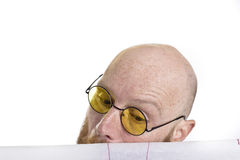 Man looking at architect drawings Royalty Free Stock Photo