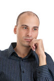 Man looking away and thinking Stock Photo