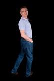Man Looking Backwards Over Shoulder Stock Images