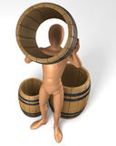 Man looking through barrel/cask hole Stock Photos