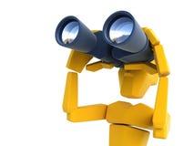 Man looking through the binoculars. 3d symbolic man looking through the binoculars Royalty Free Stock Images