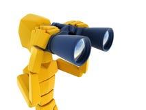 Man looking through the binoculars. 3d symbolic man looking through the binoculars Stock Photography