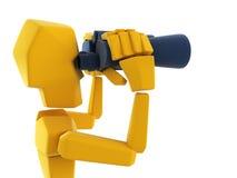 Man looking through the binoculars. 3d symbolic man looking through the binoculars Royalty Free Stock Photos